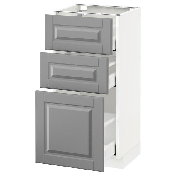 METOD Kabinet dasar dgn 3 laci, putih Maximera/Bodbyn kelabu, 40x37x80 cm