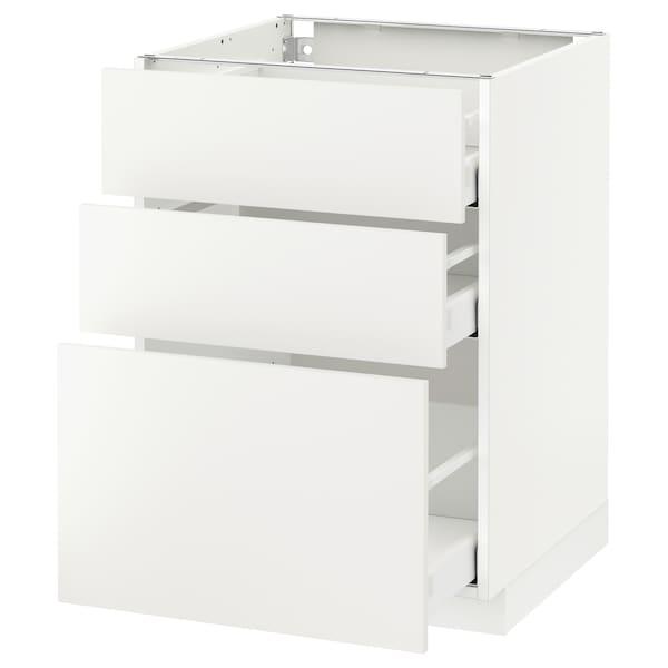 METOD Kabinet dasar dgn 3 laci, putih Maximera/Häggeby putih, 60x60x80 cm