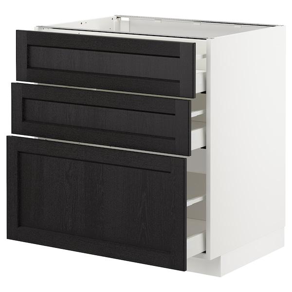 METOD Kabinet dasar dgn 3 laci, putih Maximera/Lerhyttan perwarna hitam, 80x60x80 cm