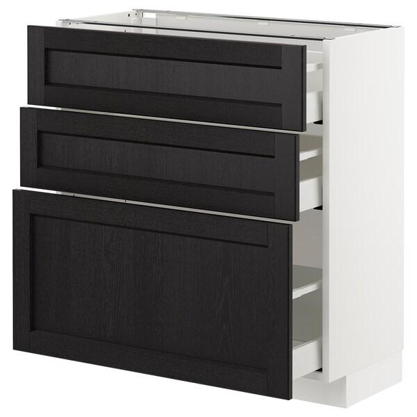 METOD Kabinet dasar dgn 3 laci, putih Maximera/Lerhyttan perwarna hitam, 80x37x80 cm