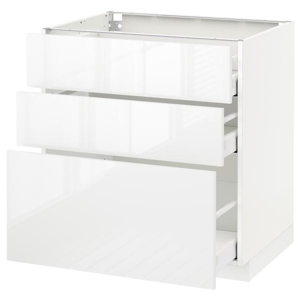METOD Kabinet dasar dgn 3 laci, putih Maximera/Ringhult putih, 80x60x80 cm