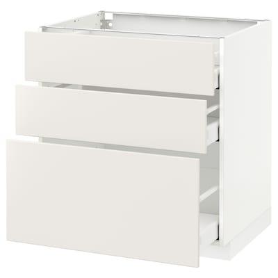 METOD Kabinet dasar dgn 3 laci, putih Maximera/Veddinge putih, 80x60x80 cm