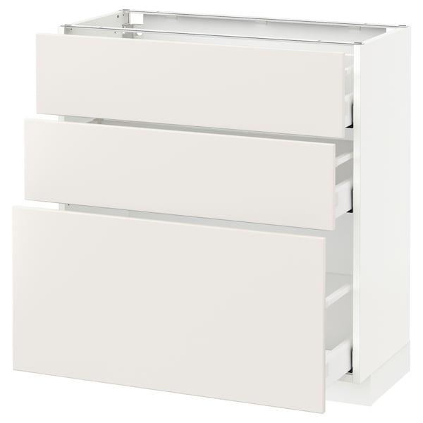 METOD Kabinet dasar dgn 3 laci, putih Maximera/Veddinge putih, 80x37x80 cm