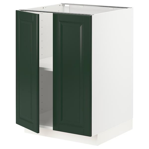 METOD Kabinet dasar + para-para/2 pintu, putih/Bodbyn hijau gelap, 60x60x80 cm