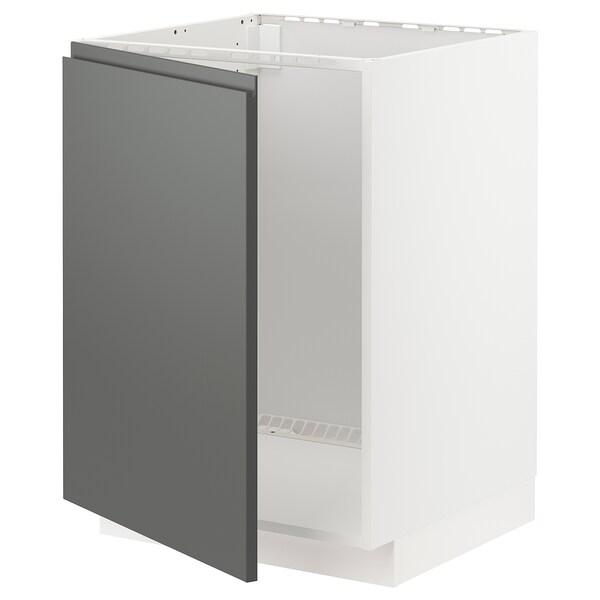 METOD Kabinet dasar untuk sink, putih/Voxtorp kelabu gelap, 60x60x80 cm