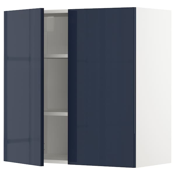 METOD Kabinet dinding + para-para/2 pintu, putih/Järsta hitam biru, 80x37x80 cm