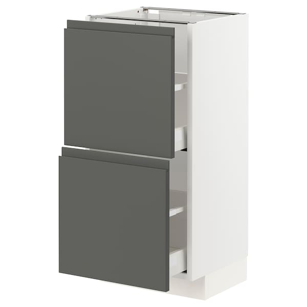 METOD / MAXIMERA Kabinet dasar dgn 2 laci, putih/Voxtorp kelabu gelap, 40x37x80 cm