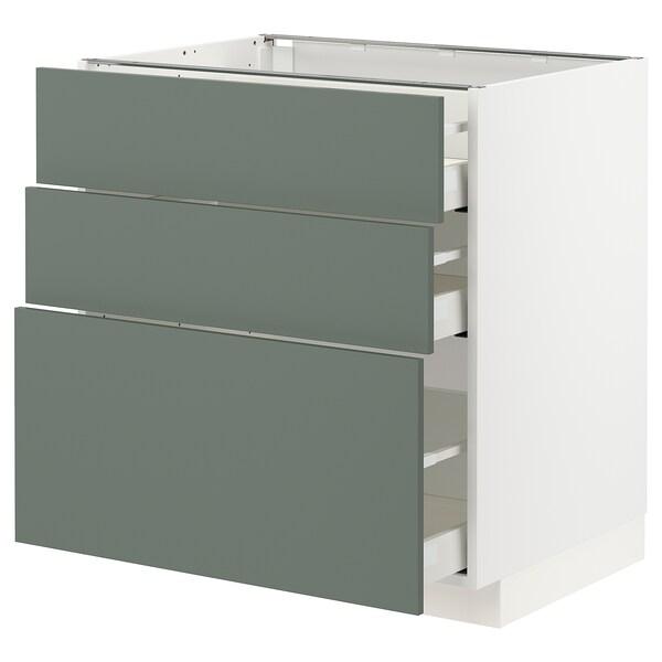 METOD / MAXIMERA Kabinet dasar dgn 3 laci, putih/Bodarp kelabu-hijau, 80x60x80 cm
