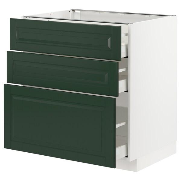 METOD / MAXIMERA Kabinet dasar dgn 3 laci, putih/Bodbyn hijau gelap, 80x60x80 cm