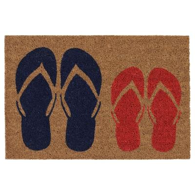 MJÖLS Alas kaki, dalam rumah, biru/merah, 40x60 cm