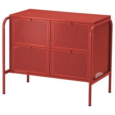 NIKKEBY Almari 4 laci, merah, 84x70 cm