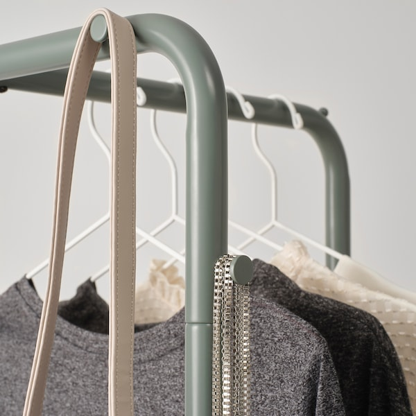 NIKKEBY Rak baju, kelabu-hijau, 45x170 cm
