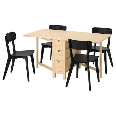 NORDEN / LISABO Meja dan 4 kerusi, birch/hitam, 26/89/152 cm