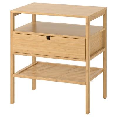 NORDKISA Meja sisi katil, buluh, 60x40 cm