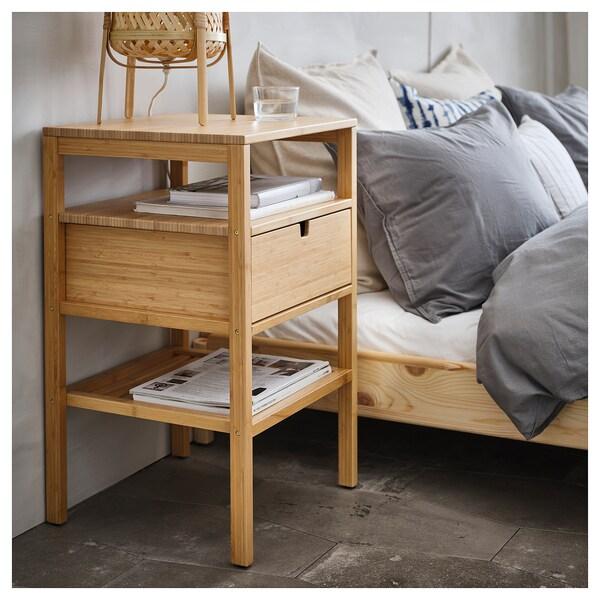 NORDKISA Meja sisi katil, buluh, 40x40 cm