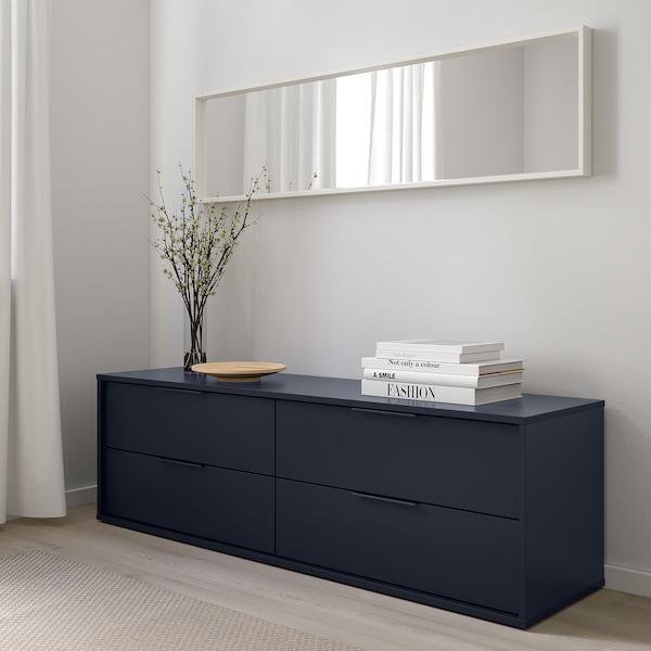 NORDMELA Almari 4 laci, hitam biru, 159x50 cm