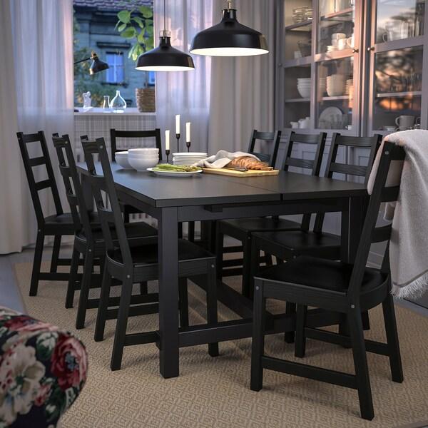 NORDVIKEN Meja boleh dipanjangkan, hitam, 210/289x105 cm