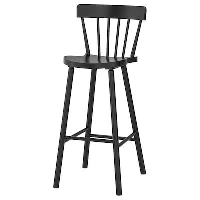 NORRARYD Bangku bar dengan penyandar, hitam, 74 cm