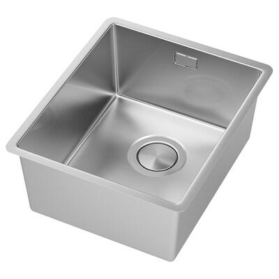 NORRSJÖN Sink sispan 1 mangkuk, keluli tahan karat, 37x44 cm