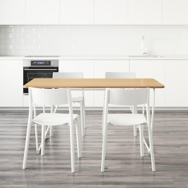 ÖVRARYD / JANINGE Meja dan 4 kerusi, putih buluh/putih, 150 cm
