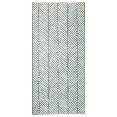 OMTÄNKSAM Ambal, tenunan rata, hijau/kelabu muda, 90x200 cm