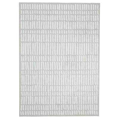 OMTÄNKSAM Ambal, tenunan rata, kelabu muda/putih, 170x240 cm