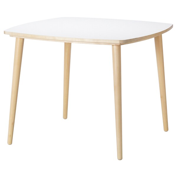 OMTÄNKSAM Meja, putih/birch, 95x95 cm