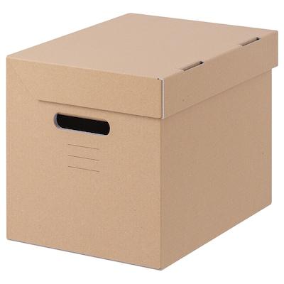 PAPPIS Kotak berpenutup, coklat, 25x34x26 cm