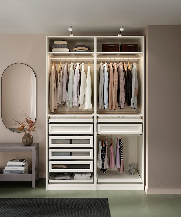 PAX 2 rangka almari pakaian, putih, 200x58x236 cm