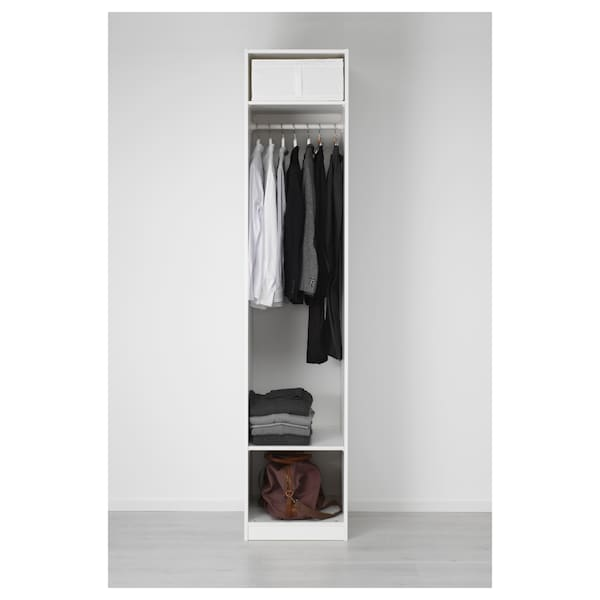 PAX Almari pakaian, putih/Vikedal kaca cermin, 50x60x236 cm