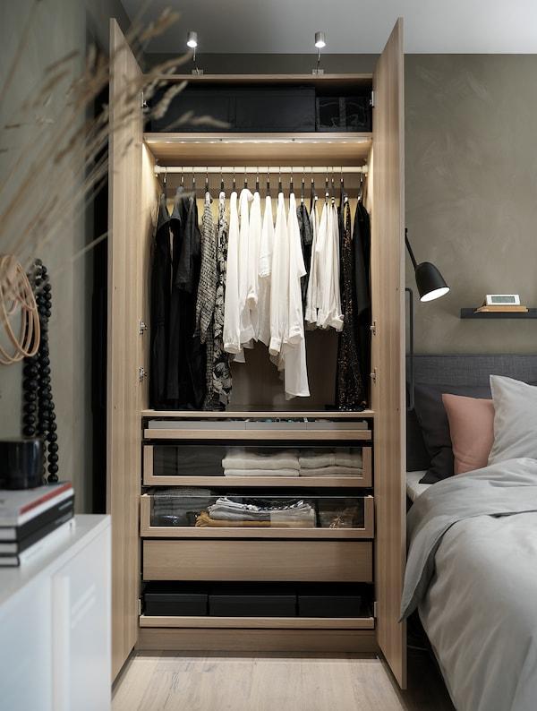 PAX Rangka almari pakaian, kesan kayu oak berwarna putih, 100x58x201 cm
