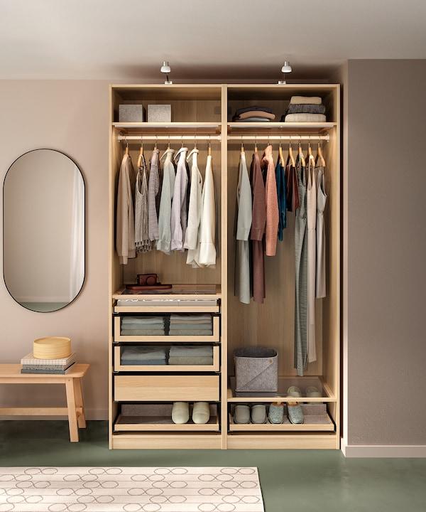 PAX Rangka almari pakaian, kesan kayu oak berwarna putih, 75x58x201 cm
