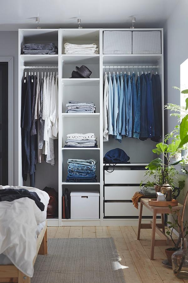 PAX Rangka almari pakaian, putih, 50x58x201 cm