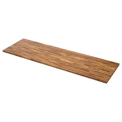 PINNARP Permukaan kerja, kayu walnut/venir, 186x3.8 cm