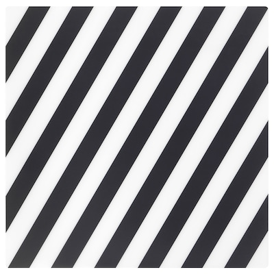 PIPIG Alas pinggan, berjalur/hitam/putih, 37x37 cm