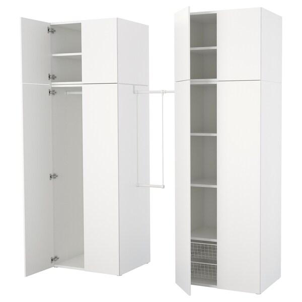 PLATSA Almari pakaian, putih/Fonnes putih, 195-220x57x241 cm