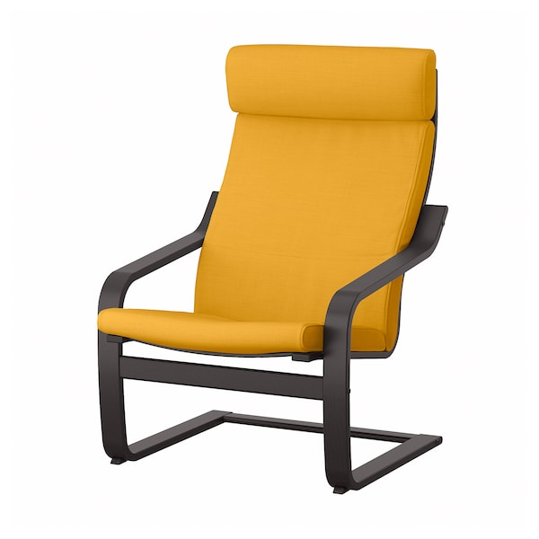 POÄNG Kerusi berlengan, hitam coklat/Skiftebo kuning