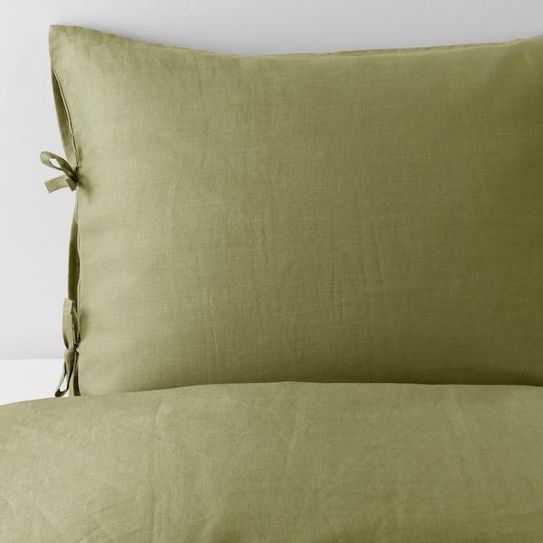 PUDERVIVA sarung kuilt dan 2 sarung bantal hijau buah zaitun 104 inci² 2 unit 220 cm 240 cm 50 cm 80 cm