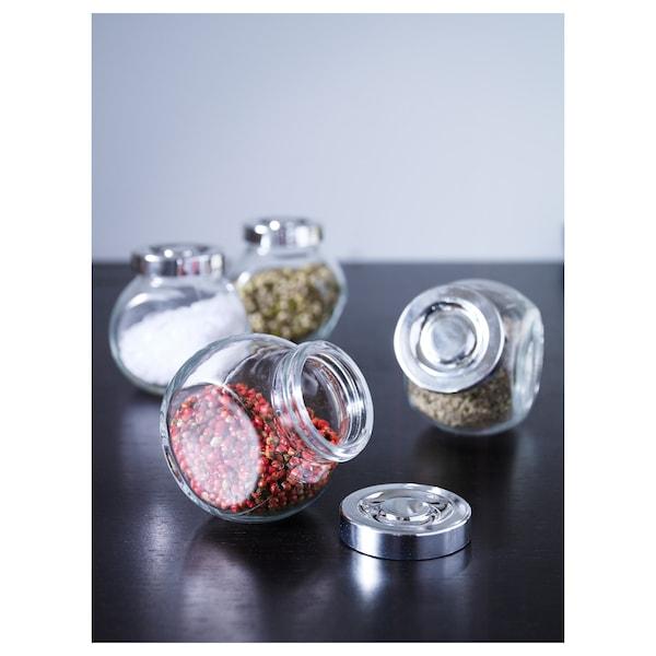 RAJTAN Balang rempah, kaca/warna aluminium, 15 cl