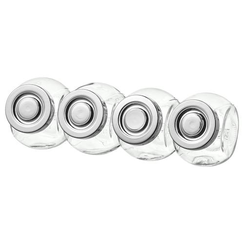 RAJTAN balang rempah kaca/warna aluminium 8 cm 15 cl 4 unit
