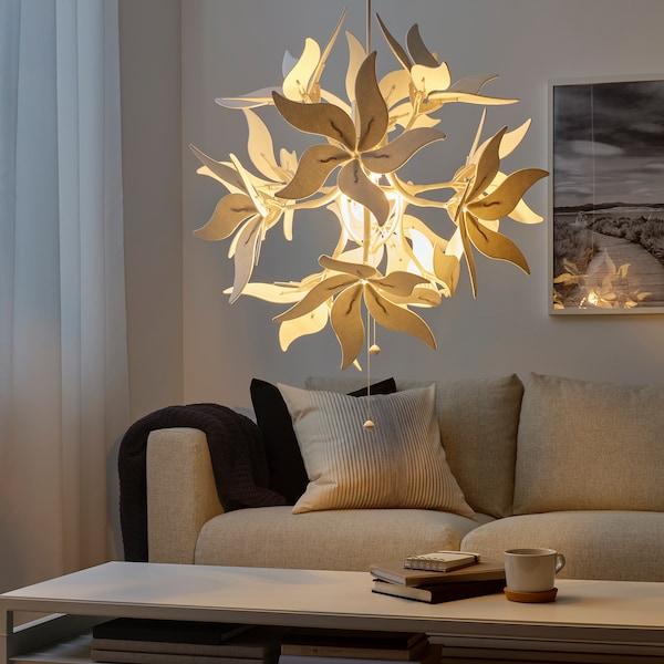 RAMSELE Lampu pendan, bunga/putih, 43 cm