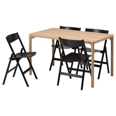 RÅVAROR / RÅVAROR Meja dan 4 kerusi, kayu oak venir/hitam, 130x78 cm
