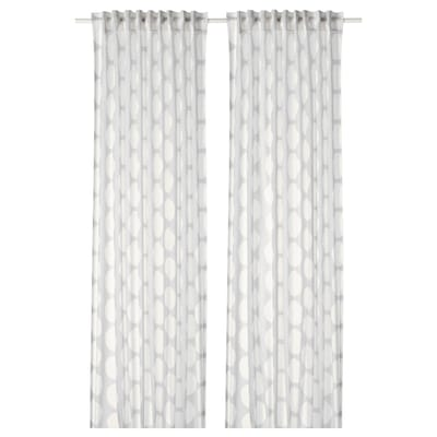 REIDUNN Langsir, 1 pasang, putih/kelabu, 145x250 cm