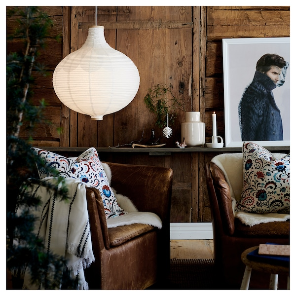 RISBYN Terendak lampu pendan, bentuk bawang/putih, 57 cm