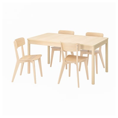 RÖNNINGE / LISABO Meja dan 4 kerusi, birch/ash, 155/210x90x75 cm
