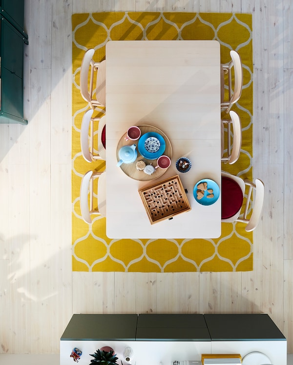 RÖNNINGE Meja boleh dipanjangkan, birch, 155/210x90x75 cm