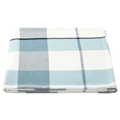 RUTIG Alas meja, corak berpetak biru, 145x240 cm