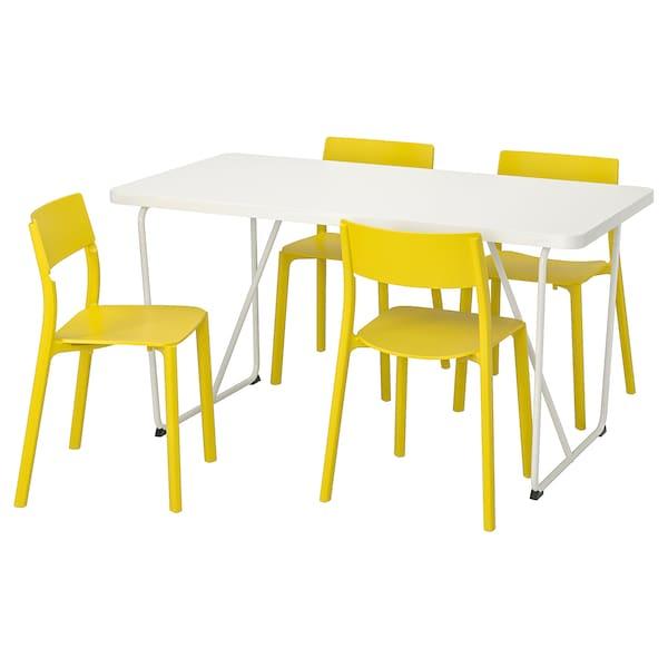 RYDEBÄCK/BACKARYD / JANINGE meja dan 4 kerusi putih/kuning 150 cm 78 cm 75 cm