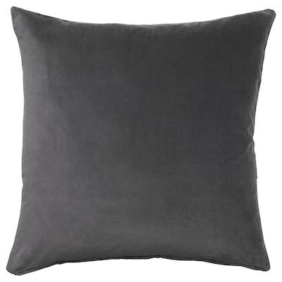 SANELA Sarung kusyen, kelabu gelap, 65x65 cm