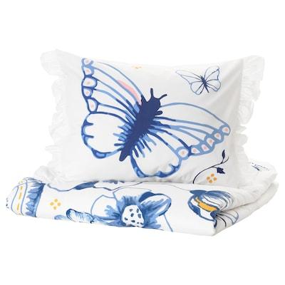 SÅNGLÄRKA Sarung kuilt dan sarung bantal, kupu-kupu/putih biru, 150x200/50x80 cm
